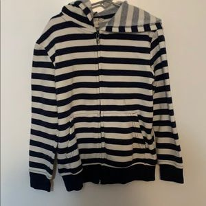 White and Navy Blue H&M ZIP Up
